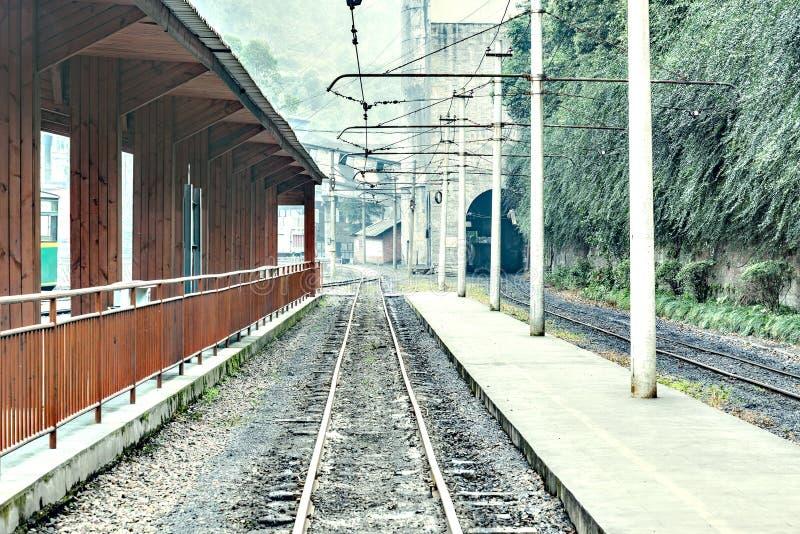 Aftonsikt av denmått järnvägsstationen arkivbilder