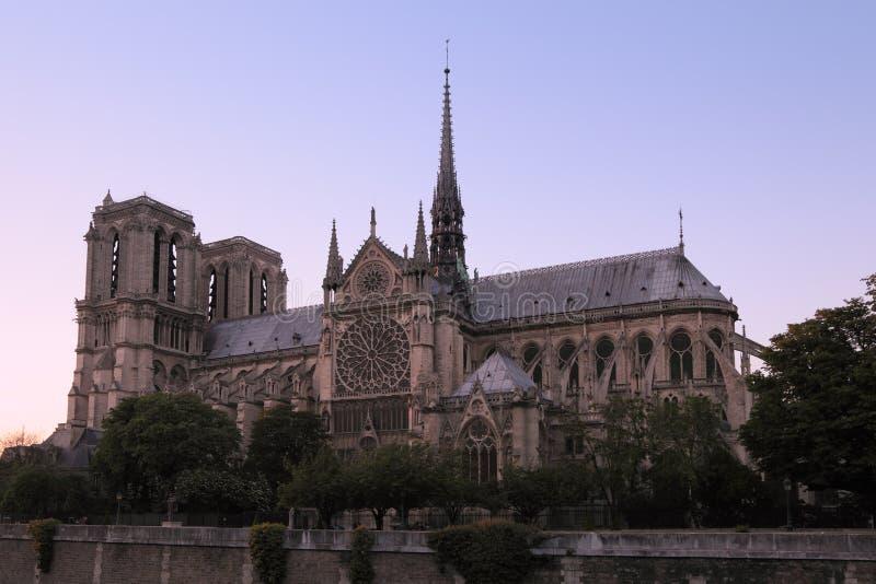 Aftonsikt av domkyrkan av Notre Dame de Paris på solnedgången arkivbild
