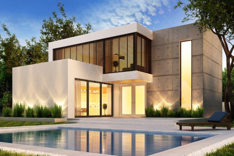 Aftonsikt av ett modernt hus med simbassängen royaltyfri bild