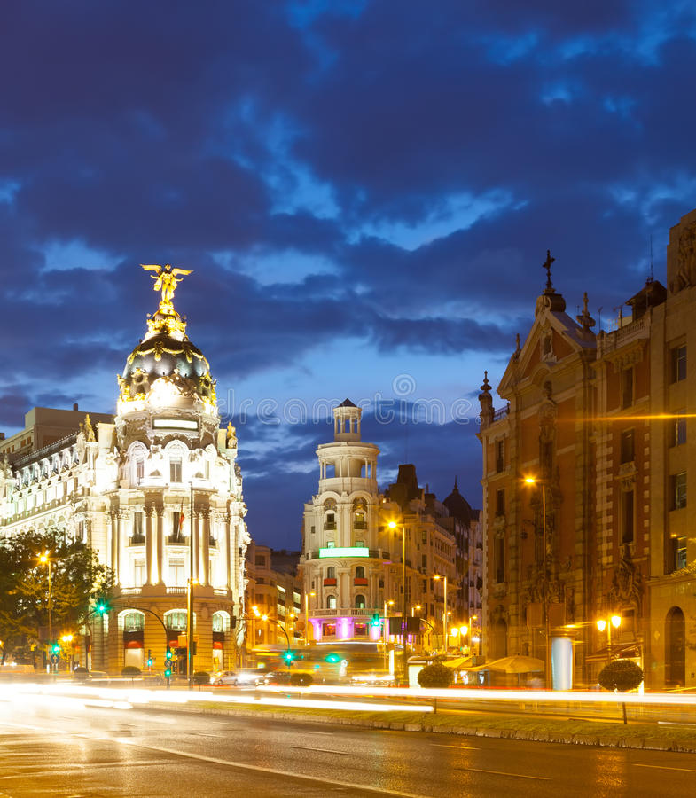 Aftonsikt av Madrid royaltyfri foto