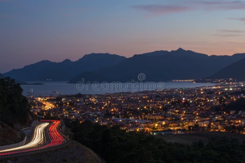Aftonsikt av Marmaris på turk Riviera från royaltyfria foton