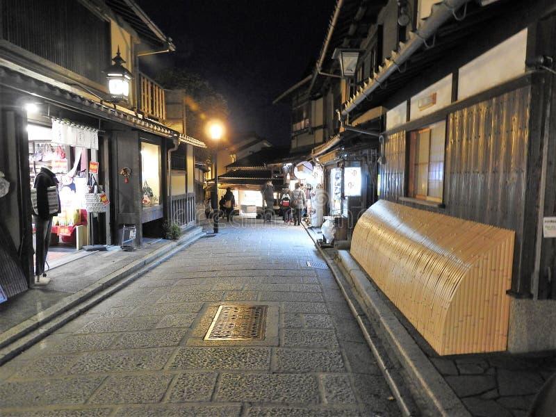 Aftonsikt av Ninen-zaka higashiyama Kyoto Japan arkivbilder