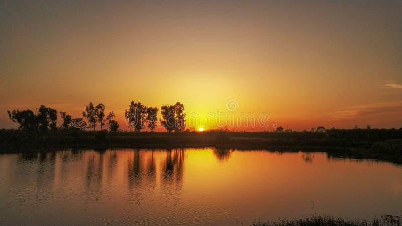 Aftonsikt av solnedgången nära sjön arkivfoto
