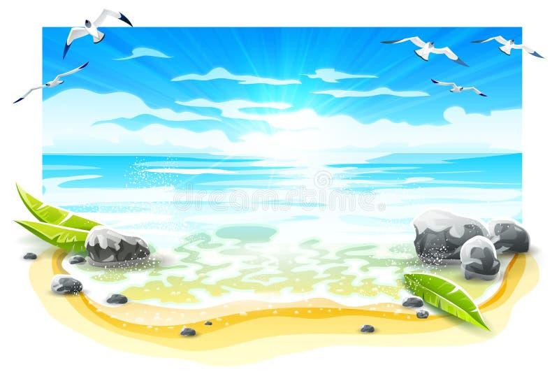 Aftonsolnedgång på den sandiga stranden av paradisön ocks? vektor f?r coreldrawillustration stock illustrationer