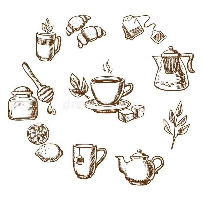 Aftreksel, dessert en bakkerijschetspictogrammen stock illustratie