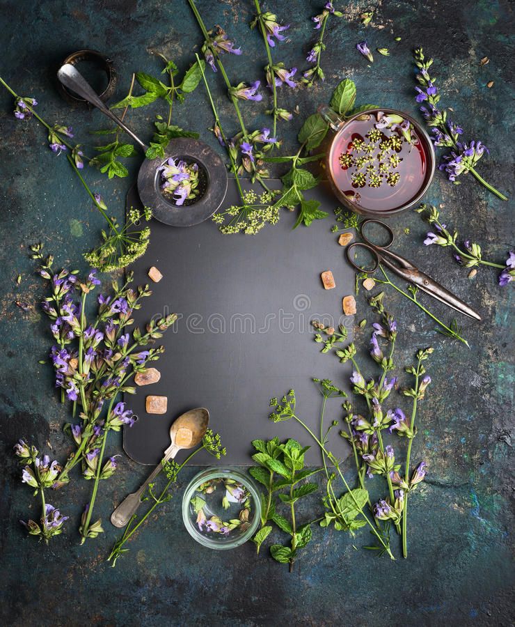 Aftreksel op witte achtergrond Diverse verse kruiden, theehulpmiddelen en kop thee op donkere uitstekende achtergrond, kader, hoo royalty-vrije stock afbeeldingen