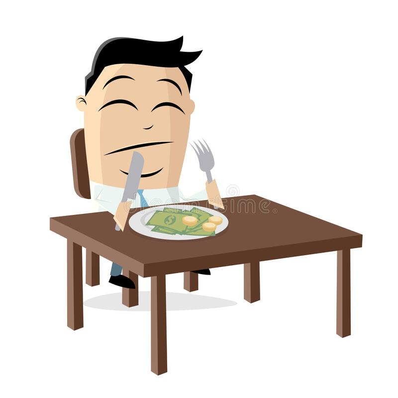 Funny cartoon illustration of a rich asian businessman who has to eat his money. Cartoon illustration of a rich asian businessman who has to eat his money royalty free illustration