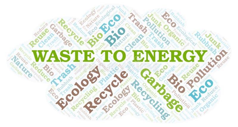 Afval aan de wolk van het Energiewoord royalty-vrije illustratie