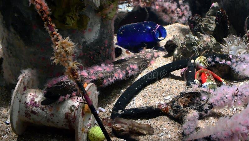 Afval in de oceaan stock fotografie