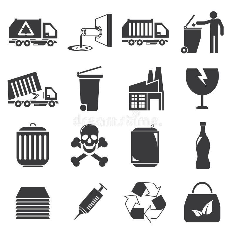Afval en gabagepictogrammen royalty-vrije illustratie