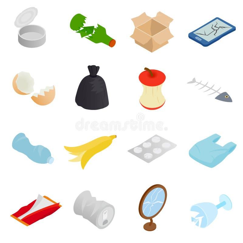 Afval en huisvuil geplaatste pictogrammen, isometrische 3d stijl vector illustratie