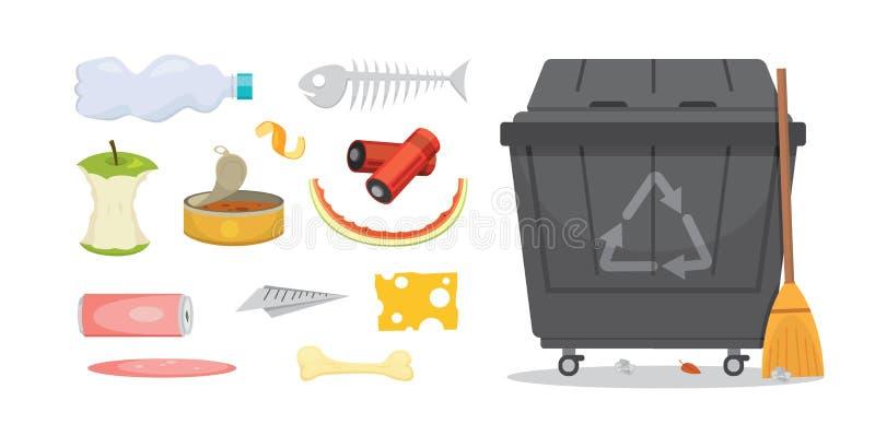 Afval en huisvuil vastgestelde illustraties in beeldverhaalstijl Biologisch afbreekbaar, plastic en dumpster pictogrammen royalty-vrije illustratie