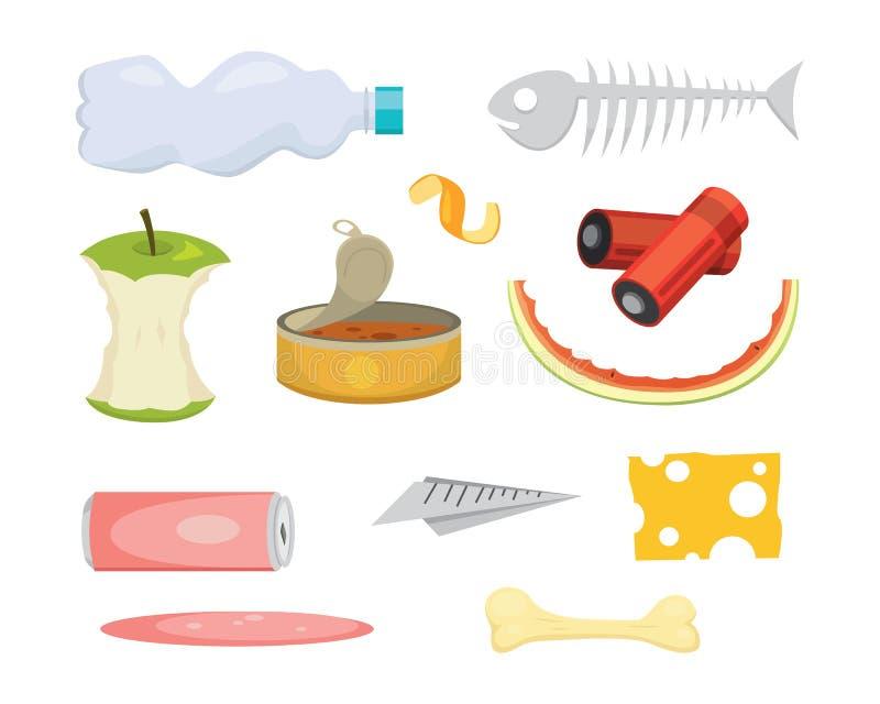 Afval en huisvuil vastgestelde illustraties in beeldverhaalstijl Biologisch afbreekbare en plastic pictogrammen royalty-vrije illustratie