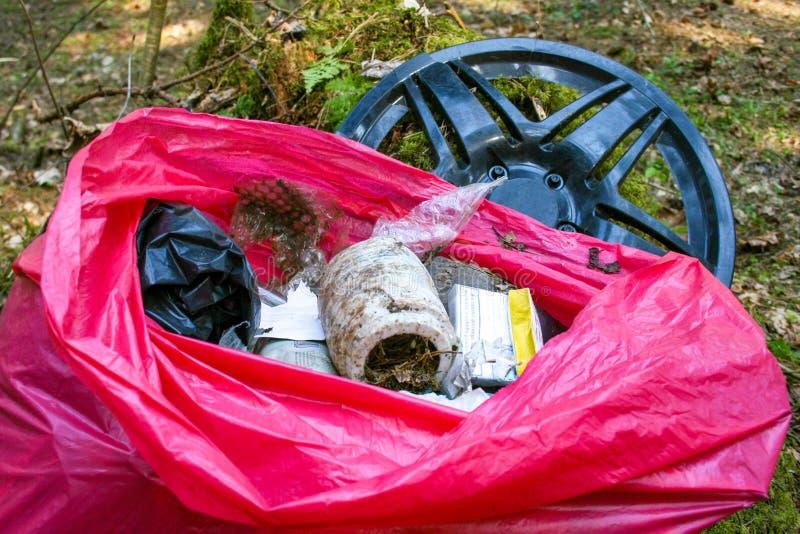 Afval, huisvuil en plastiek in een bos, verontreiniging royalty-vrije stock foto