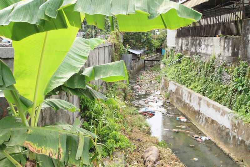 Afval in kanalisatie in Manokwari royalty-vrije stock afbeelding