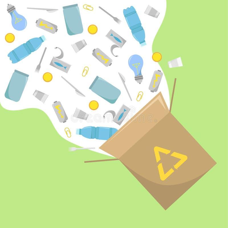 Afval kringloop ECO-Zaken Vriendschappelijk sparen Aard Milieuvriendelijke transportmiddelen en vernieuwbare energie Ecoproductie royalty-vrije illustratie