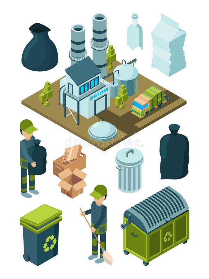 Afval kringloop isometrisch Van de de faciliteitensoort van het afvalhuisvuil van de de plastic containerverwijdering van de het  stock illustratie