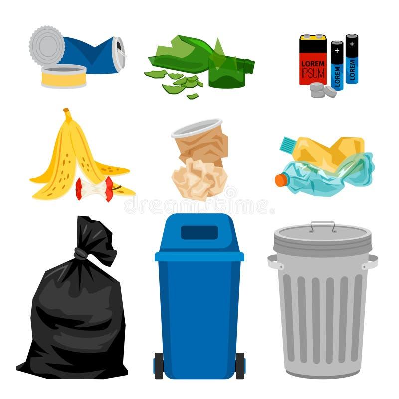 Afval met huisvuilbakken die wordt geplaatst royalty-vrije illustratie
