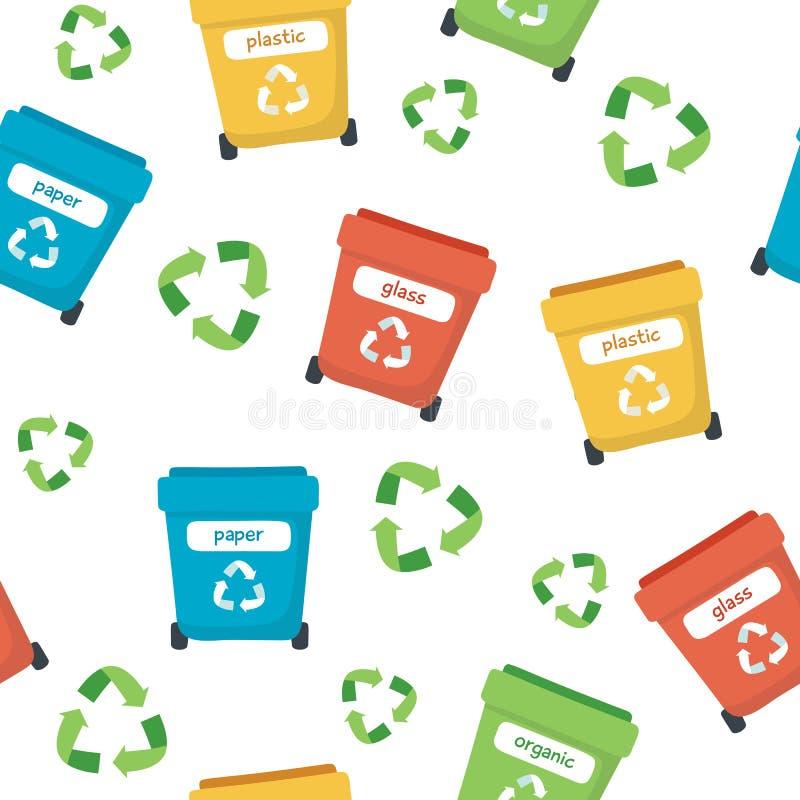 Afval sorterend patroon met verschillende kleurrijke huisvuilbakken, conceptenillustratie voor recycling, ecologie, duurzaamheid vector illustratie