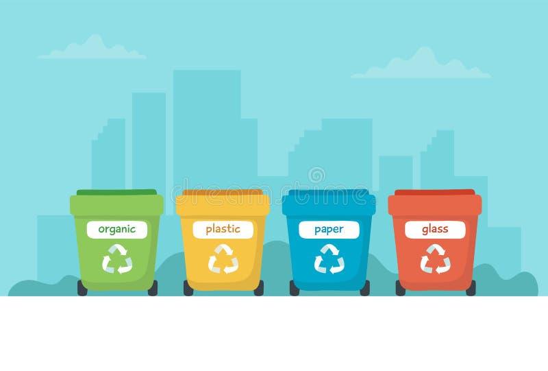 Afval sorterende illustratie met verschillende kleurrijke huisvuilbakken, conceptenillustratie voor recycling, duurzaamheid stock illustratie