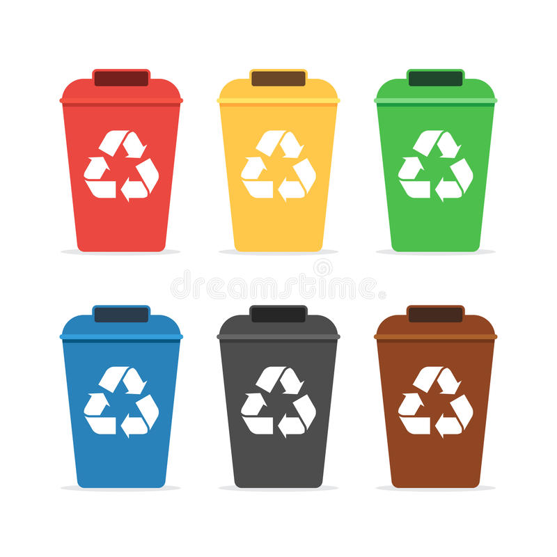 Afvalcontainers voor recycling royalty-vrije illustratie