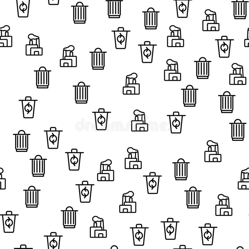 Afvalproces die Naadloze Patroonvector recycleren royalty-vrije illustratie