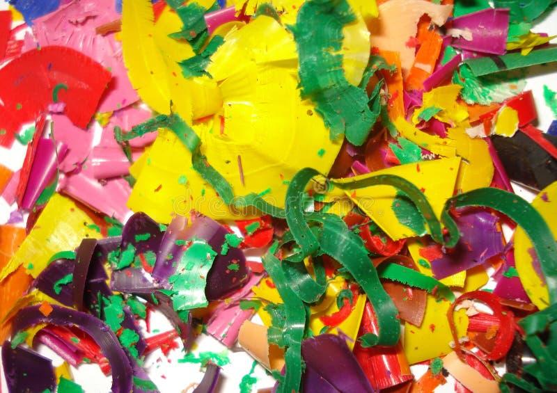 Afvalspaanders van verschillende kleuren stock afbeelding