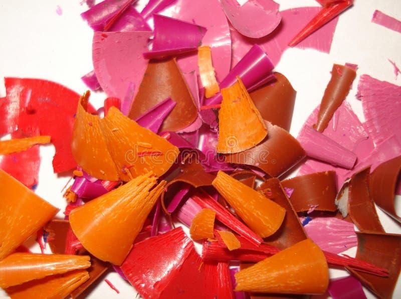 Afvalspaanders van verschillende kleuren stock fotografie
