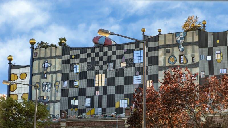 Afvalverbrandingsinstallatie Spittleau door Hundertwasser, Wenen, Oostenrijk royalty-vrije stock foto