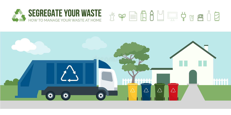 Afvalvrachtwagen die huisvuilbakken verzamelen stock illustratie
