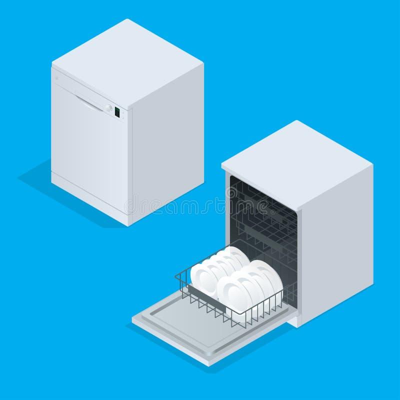 Afwasmachinehoogtepunt van werktuigen tegen witte achtergrond 3d isometrische vectorillustratie stock illustratie
