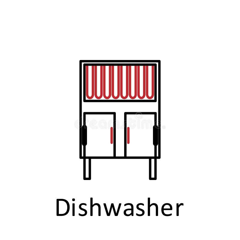 Afwasmachinepictogram Element van restaurantberoepsuitrusting Dun lijnpictogram voor websiteontwerp en ontwikkeling, app ontwikke stock illustratie