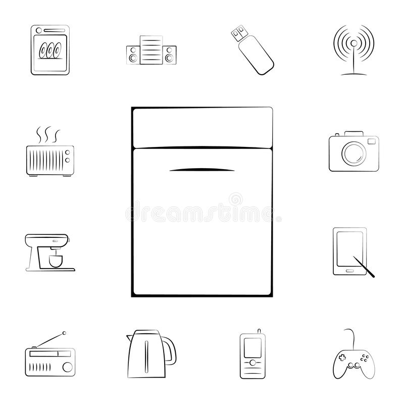 Afwasmachinepictogram Gedetailleerde reeks huistoestellen Premie grafisch ontwerp Één van de inzamelingspictogrammen voor website vector illustratie