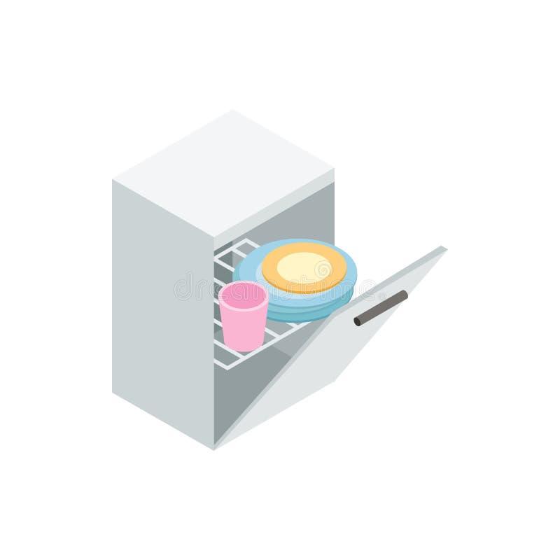 Afwasmachinepictogram, isometrische 3d stijl stock illustratie