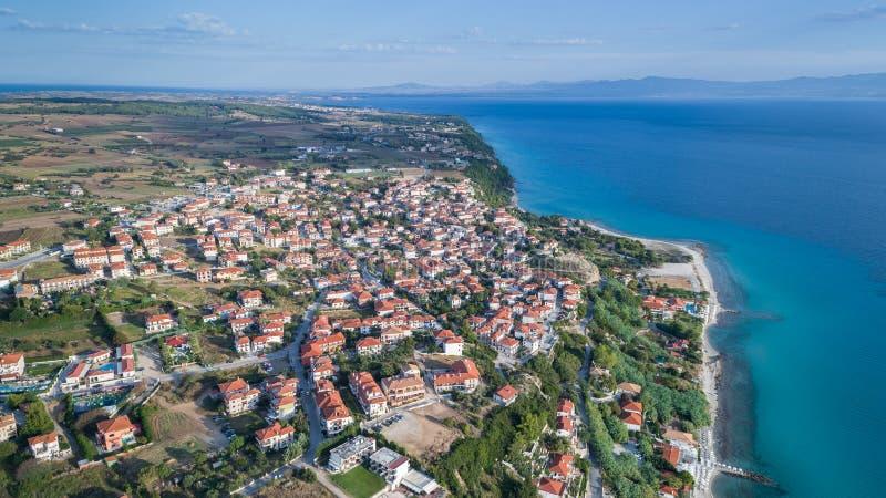 Afytos村庄 Halkidiki,希腊Kassandra  免版税图库摄影