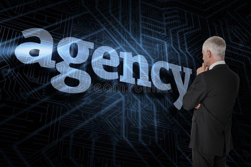 Agência contra o fundo preto e azul futurista imagem de stock