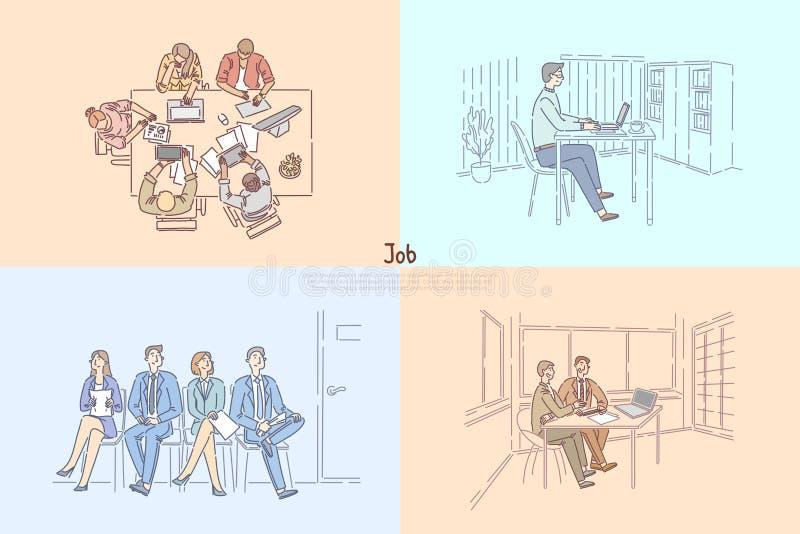 Agência da hora que procura trabalhadores, candidatos que esperam a entrevista de trabalho, reunião de negócios, bandeira de alug ilustração stock