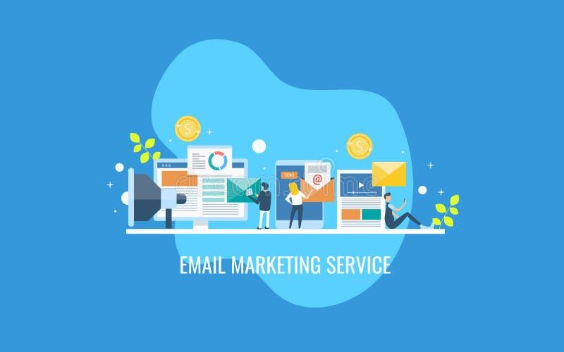 Agência do mercado do e-mail que proporciona o serviço do mercado do e-mail, pessoa de contrato com campanha personalizada do e-m ilustração royalty free
