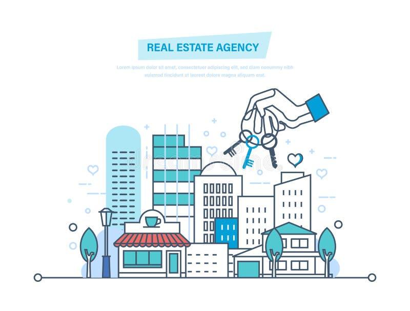 Agência imobiliária real Venda, aluguel do anúncio publicitário, bens imobiliários privados ilustração royalty free