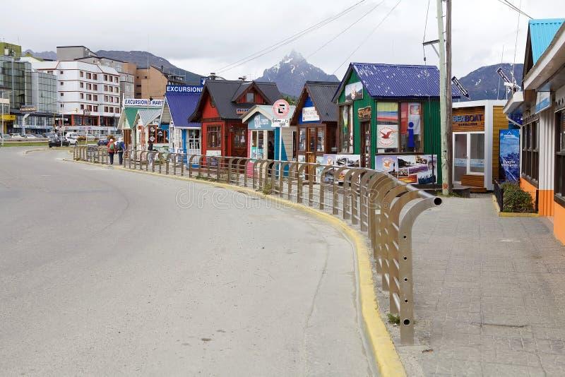 Agências de turista em Ushuaia, a capital de Tierra del Fuego, Argentina fotografia de stock