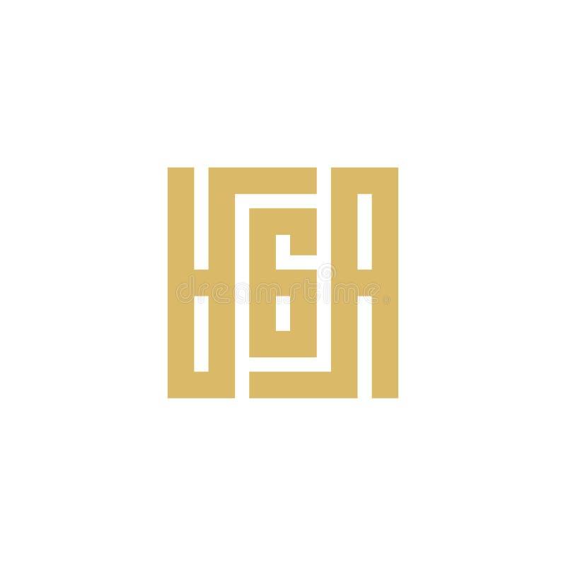 AGA-bokstaven baserade Logo Icon Fyrkantigt alfabet för monogram - vektor royaltyfri illustrationer