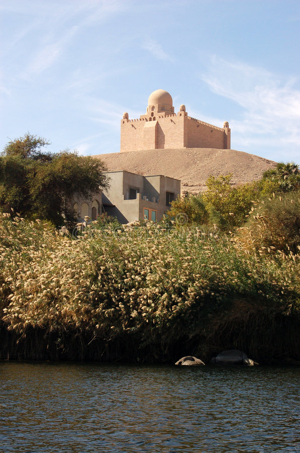 Aga Khan Mausoleum, Aswan. A view from the River Nile of the Mausoleum of Mohammed Shah Aga Khan, the 48th Imam of the Ismaili sect. Aswan, Egypt royalty free stock image
