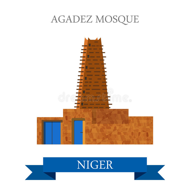 Agadez Mosque in Niger. Flat cartoon site vector i. Agadez Mosque in Niger. Flat cartoon style historic sight showplace attraction web site vector illustration royalty free illustration