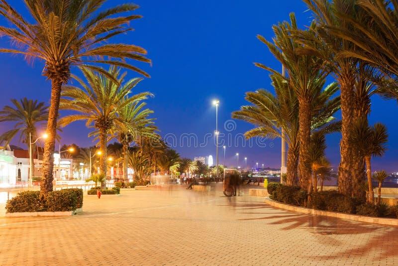 Agadir bij nacht royalty-vrije stock afbeeldingen