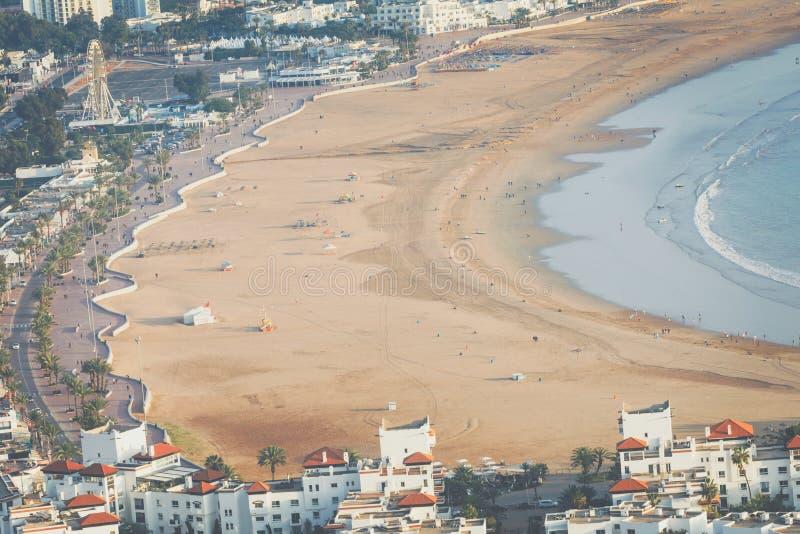 Agadir flyg- panoramautsikt från det Agadir Kasbah Agadir fortet fotografering för bildbyråer