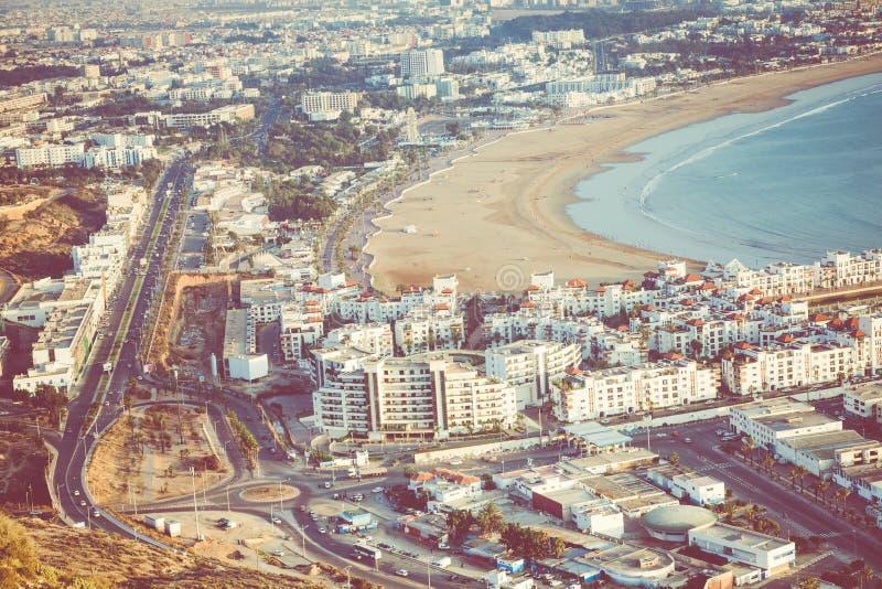 Agadir flyg- panoramautsikt från det Agadir Kasbah Agadir fortet arkivbild