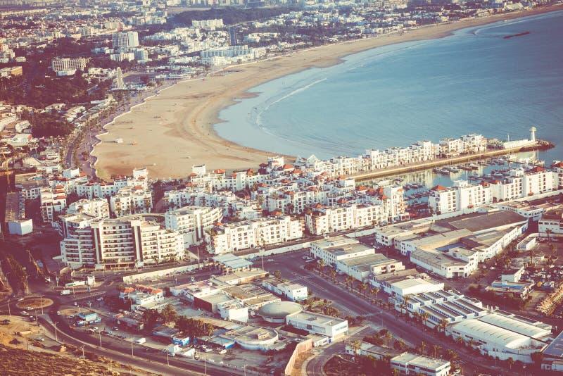 Agadir flyg- panoramautsikt från det Agadir Kasbah Agadir fortet arkivbilder
