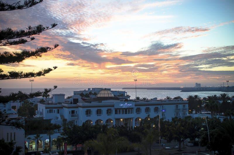 Agadir, Marokko, 30 September, 2014 Decameronhotel in zonsondergang royalty-vrije stock foto's