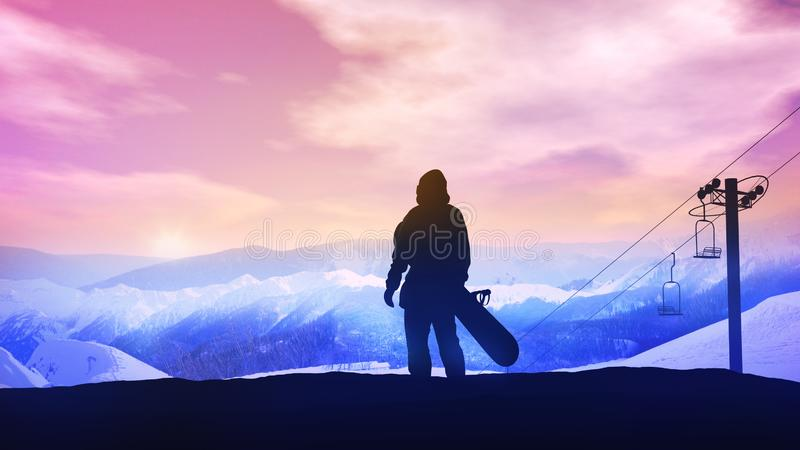 Snowboarder on the background of a bright sunset in the mountains. stock photos