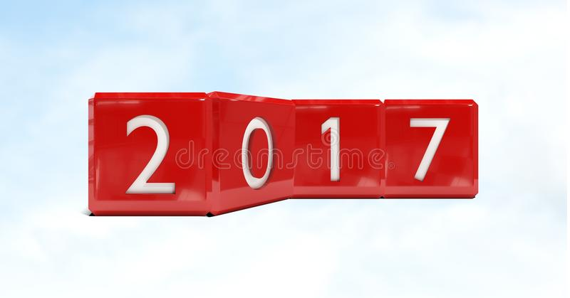 2017 against a composite image 3D of clouds and sky royalty free stock image